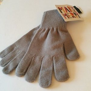 TROUVE WOMENS KNIT GLOVES GRAY OS NWT